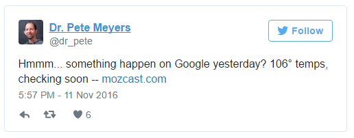 Industry Chatter About SEO from the likes of Dr. Pete Myers can also serve as a Google Algorithm update hint