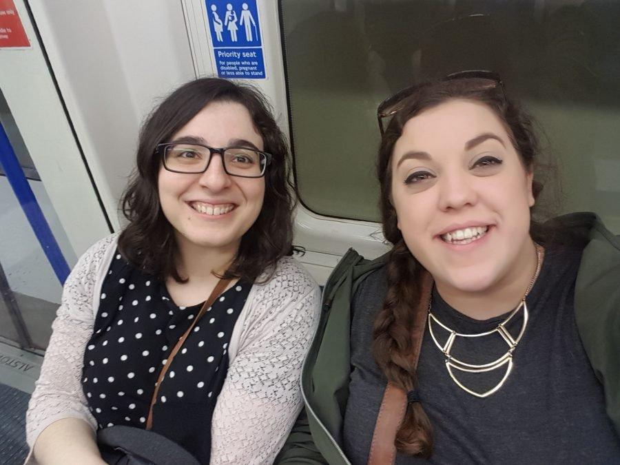 Teresa Garanhel and Katie Sadler on London Tube going to the RAR awards