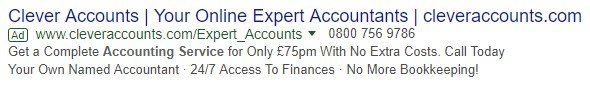 call extensions advert example