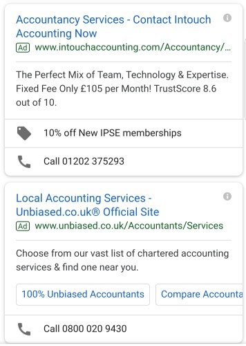 call extensions mobile advert example