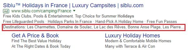 structured snippets advert example