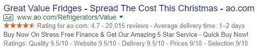 seller ratings advert example