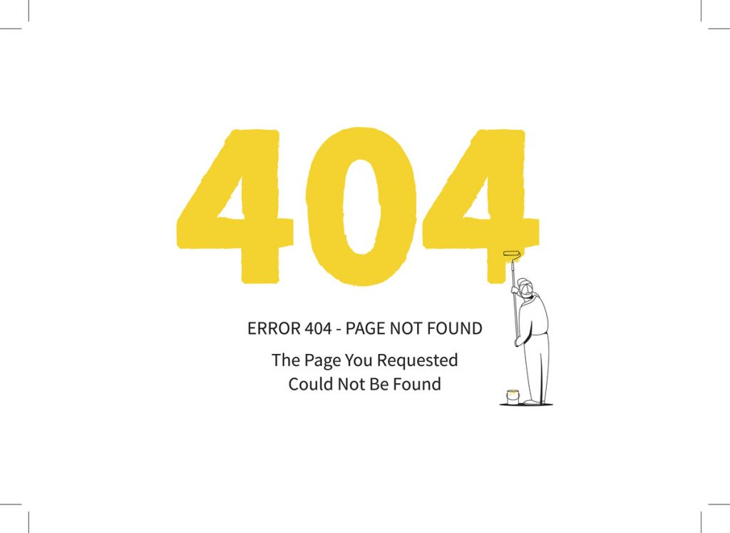 Error 404 page with a painter vector illustration